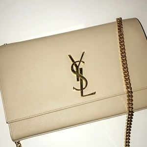 YSL beige and gold chain purse
